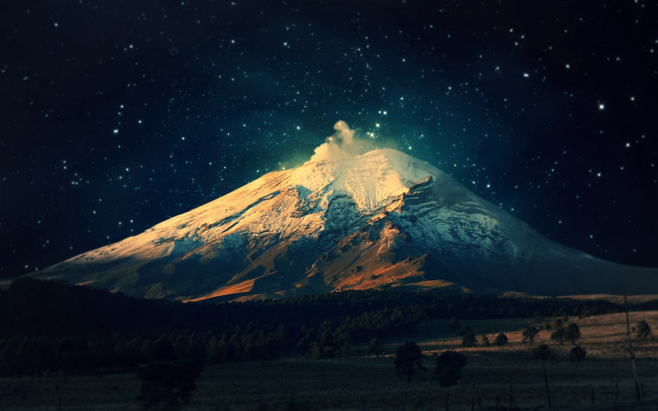 Mount Popocatepetl- another night view