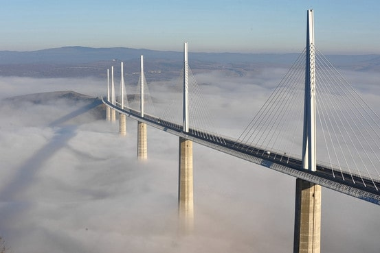 millau bridge under cloud